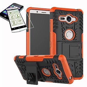 Hybrid case 2 piece SWL Orange for Sony Xperia XZ2 compact / mini bag case + tempered glass