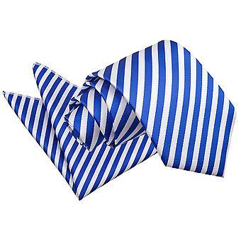 Wit & Koningsblauwen dunne streep Tie & zak plein Set