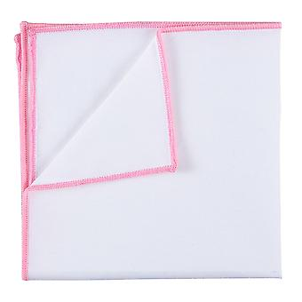 White Cotton Pocket Square With Baby Pink Trim