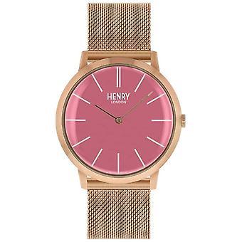 Henry London Iconic Pink Dial Rose Gold Tone Mesh Bracelet HL40-M-0312 Watch