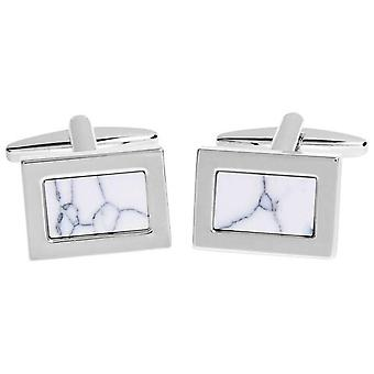 David Van Hagen Shiny Rectangle Marble Effect Mother of Pearl Cufflinks - White/Silver