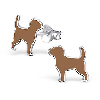 Dog - 925 Sterling Silver Colourful Ear Studs - W24021x