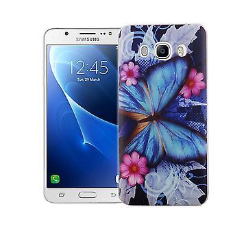 Handy Hülle für Samsung Galaxy J5 2016 Cover Case Schutz Tasche Motiv Slim Silikon TPU Blauer Schmetterling