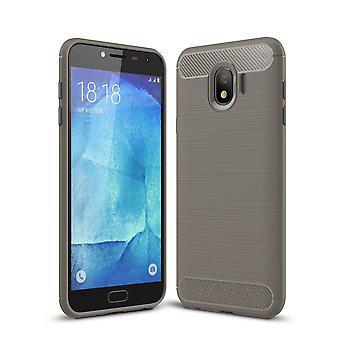 Carbono de silicone cinza capa Samsung Galaxy J4 olha caso capa TPU móvel de para-choques 211780