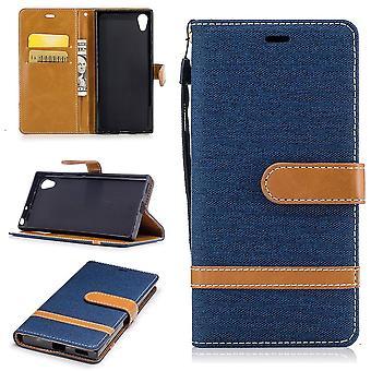 Saco para Sony Xperia XA1 jeans capa celular capa protetora caso azul escuro