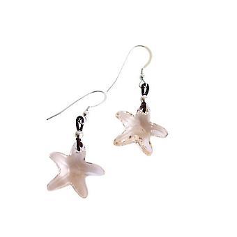 Oorbellen Starfish SILK 925 zilveren lederen crystal element