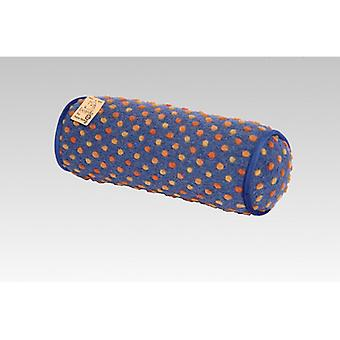 Neck roll pillow blue stained wool 42 x 14 cm