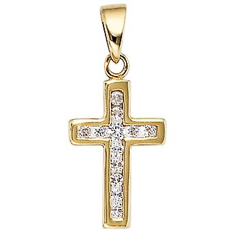 Gold cross rhinestones pendant cross 333 gold yellow gold 12 cubic zirconia