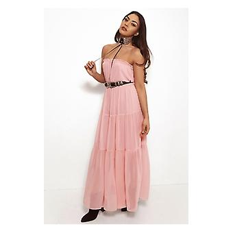 The Fashion Bible Pink Chiffon Goddess Maxi Dress