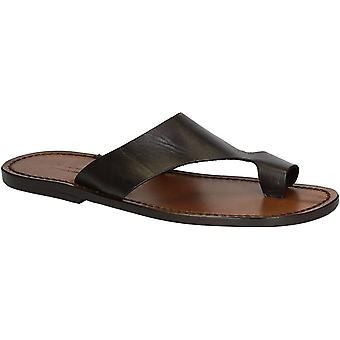 Brown leather thong sandals for men Handmade in Italy