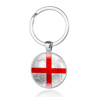 TRIXES St George White and Red Cross Metal Round Keyring