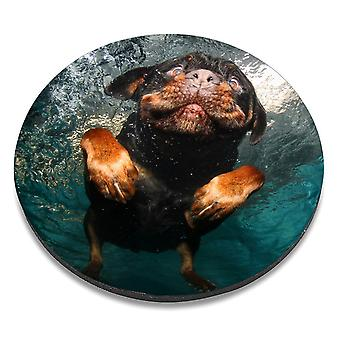 i-Tronixs - Underwater Dog Printed Design Non-Slip Round Mouse Mat for Office / Home / Gaming - 6