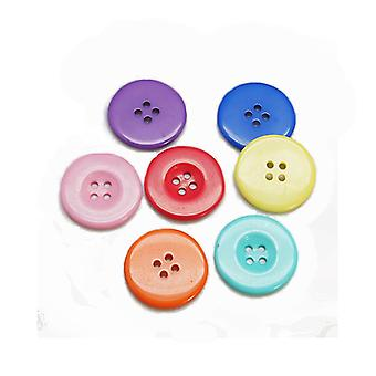 Packet 20 x Mixed Resin 20mm Round 4-Holed Sew On Buttons HA10350