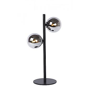 Lucide Tycho Retro Steel Black And Smoke Grey Table Lamp