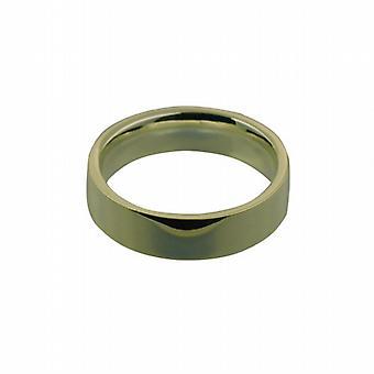 9ct Gold 6 mm schlichte flache Court geformt Ehering Größe Q