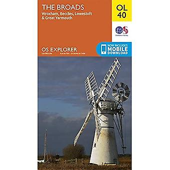 The Broads: Wroxham, Beccles, Lowestoft & Great Yarmouth (OS Explorer Map)