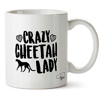 Hippowarehouse Crazy Cheetah Lady Printed Mug Cup Ceramic 10oz