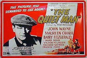 Quiet Man John Wayne red white embossed steel sign