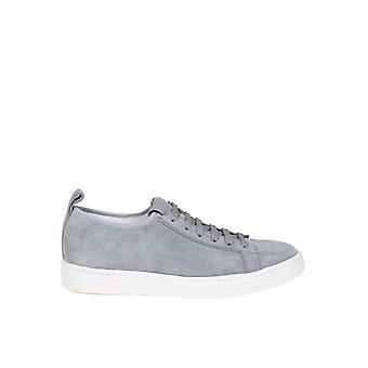 Santoni Grey Leather Sneakers