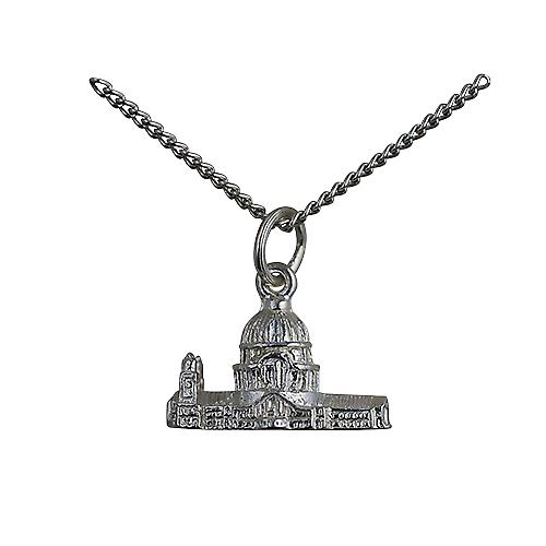 Silver 11x17mm hollow St. Paul's Cathedral Pendant with a curb Chain 22 inches