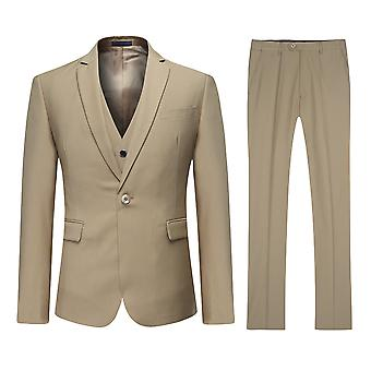 Allthemen Men's Khaki One-Button Korean Version Slim Suit 3-Piece Suit Blazer&Vest&Trousers
