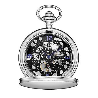 Silver case black face suit pocket watch & keep chain