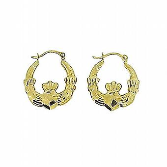Toc 9 Carat Yellow Gold Claddagh Ring Hoop Loop Earrings