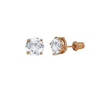 Eternal Collection Luxe Cubic Zirconia And Rose Gold Tone Stud Pierced Earrings