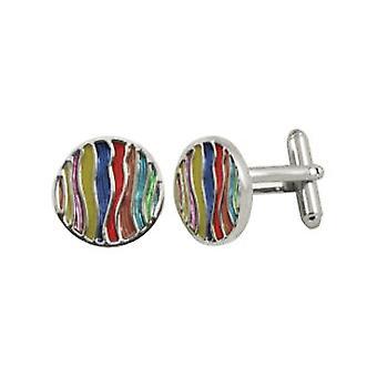 Eternal Collection Waves smalto multicolore striped rotondo tono d'argento Cufflinks