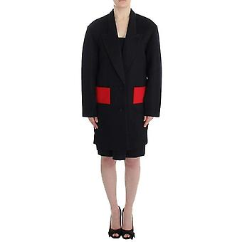 Kaale Suktae Black Coat Trench Long Draped Jacket Blazer -- SIG1872837