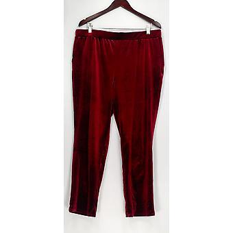 Dennis Basso Femme-apos;s Pantalon Stretch Velvet Pull-on Wine Red A309919