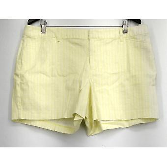 Attention Shorts Geometric Detail Khaki Zipper Button Front Yellow