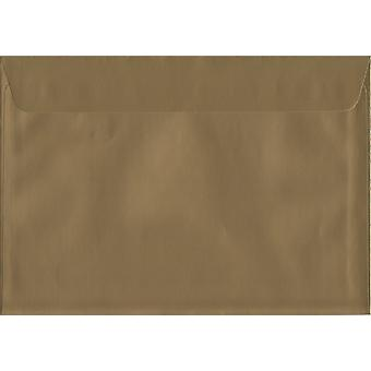 Metallic Gold Peel/Seal C5/A5 Coloured Gold Envelopes. 130gsm Luxury FSC Certified Paper. 162mm x 229mm. Wallet Style Envelope.