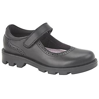 Girls Formal Shoes Leather Single Bar Touch Fastening School