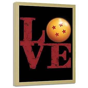 Poster In Frame, Inscription Love With A Ball Of Power 2