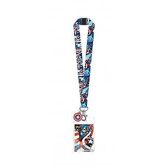 Lanyard - Marvel - Captain America w/Soft Touch Dangle New 69031
