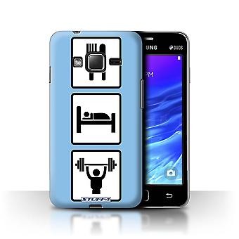 STUFF4 Case/Cover for Samsung Z1/Z130/Lift/Gym/Blue/Eat/Sleep