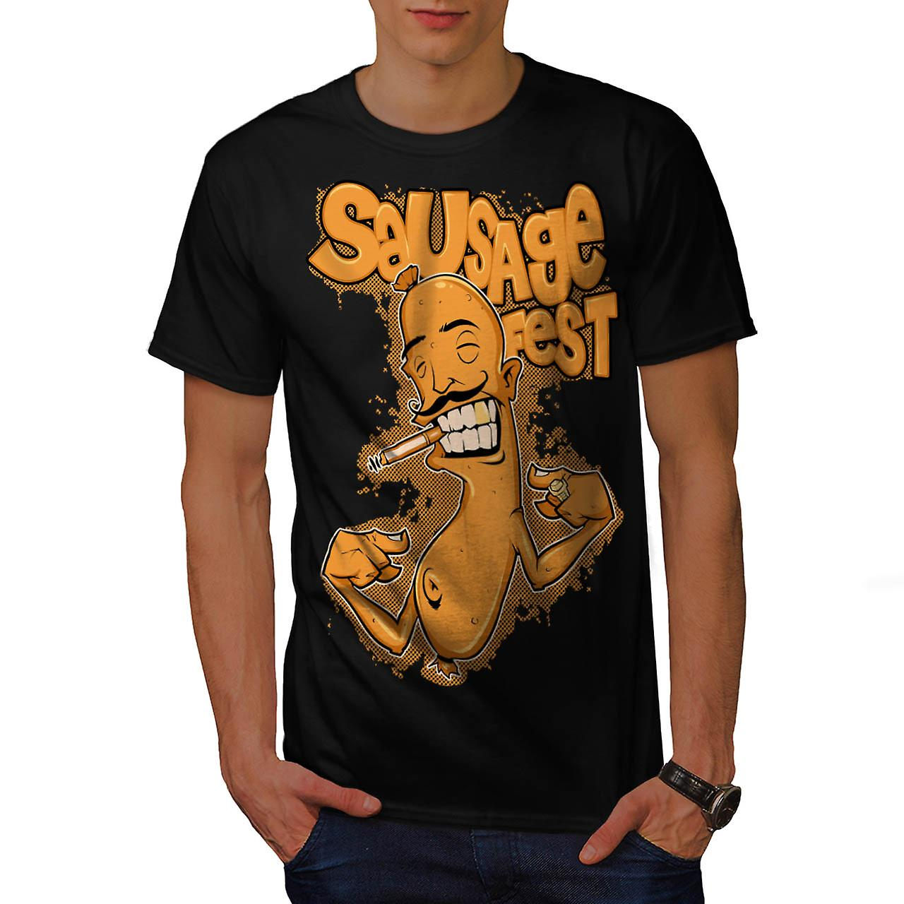 Sausage Fest Moustache Cigar Link Men Black T-shirt | Wellcoda