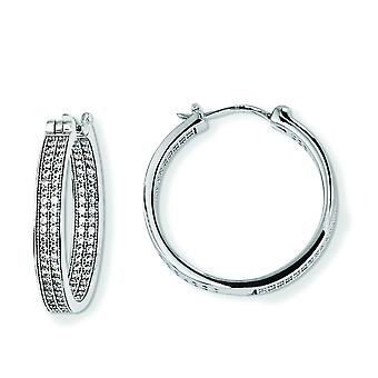 Sterling Silver and CZ Brilliant Embers Hoop Earrings