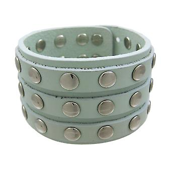 Gray Leather 3 Row Metal Studs Wristband Wrist Band