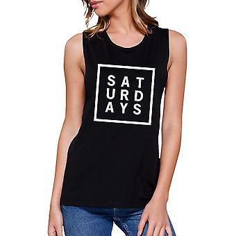 Saturdays Womens Black Muscle Top Trendy Typography Workout Shirt