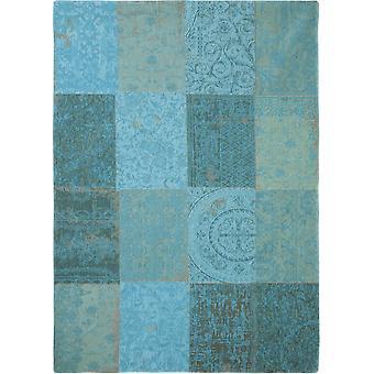 Vintage Azur blå flad kludetæppe - Louis De Poortere