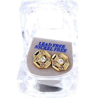 Iced out bling earrings box - OCTAGON gold