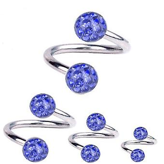 Spiraal Twist Piercing Titanium 1,2 mm, Multi Crystal Ball Sapphire Blue | 6-12mm