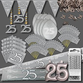 Silver wedding anniversary party decoration set XL 102-teilig 25 years anniversary silver wedding Kit