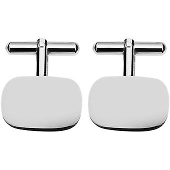 Orton West Silver Plated Curved Corner Rectangular Cufflinks - Silver