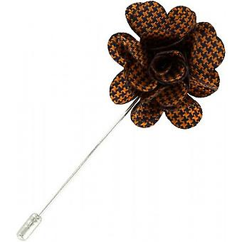 Michelsons of London Puppy Tooth Flower Lapel Pin - Orange/Black
