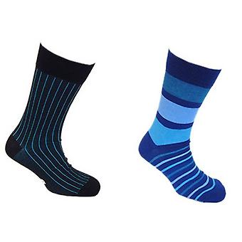 Tyler and Tyler Pinstripe and Stripy Sock Set - Blue/Black/Blue