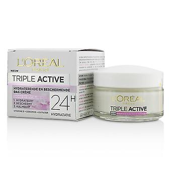 L'oreal Triple Active Multi-Protective Day Cream 24H Hydration - For Dry/ Sensitive Skin - 50ml/1.7oz