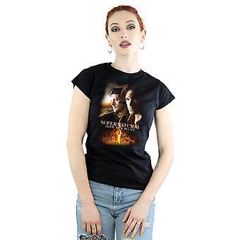 Сверхъестественное женщин пылающий плакат футболку